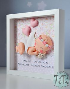 Baby Angel Decorative Frame New baby Personalised Felt by TiTics
