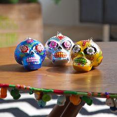 Sugar Skull Ornament Set Of 3
