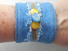 Denim Cuff with Mother of Pearl buttons & chain stitches on