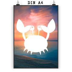 Poster DIN A4 Krebs aus Papier 160 Gramm  weiß - Das Original von Mr. & Mrs. Panda.  Jedes wunderschöne Motiv auf unseren Postern aus dem Hause Mr. & Mrs. Panda wird mit viel Liebe von Mrs. Panda handgezeichnet und entworfen.  Unsere Poster werden mit sehr hochwertigen Tinten gedruckt und sind 40 Jahre UV-Lichtbeständig und auch für Kinderzimmer absolut unbedenklich. Dein Poster wird sicher verpackt per Post geliefert.    Über unser Motiv Krebs  Ein niedlicher Krebs ist das Lieblingstier von…