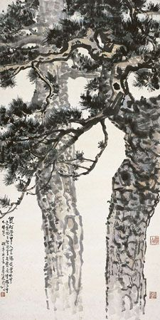 Xu Beihong (1895~1953)  A Couple Pine Trees Ink and color on paper, hanging scroll  136×68cm