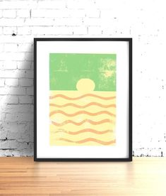 Relax with this modern wall art ocean print. This sunset print will fit right in with your coastal decor.  Simple lines and shapes of this Scandinavian art style beach print catch your eye and make a striking centerpiece or addition to your gallery wall. The abstract shapes of this oversized art mid Geometric Wall Art, Colorful Wall Art, Modern Wall Art, Wall Art Sets, Large Wall Art, Wall Art Prints, Minimalist Scandinavian, Scandinavian Art, Beach Print