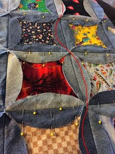 Denim I Spy Rag Quilt – Upcycle Old Jeans – Hangry Fork - quilt patterns Cathedral Window Quilts, Cathedral Windows, Refaçonner Jean, Jean Bag, Barn Quilts For Sale, Blue Jean Quilts, Denim Quilts, Artisanats Denim, Denim Purse