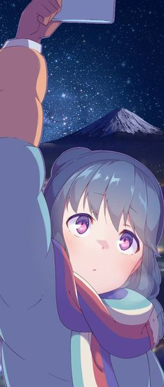 Yuru Camp Nao Mount Fuji night starry sky Artist:@hetarage   Background edit by me