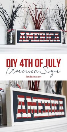 The best DIY projects & DIY ideas and tutorials: sewing, paper craft, DIY. Best Diy Crafts Ideas For Your Home Make this fun Independence Day sign to add some of July spirit into your home! Fourth Of July Decor, 4th Of July Decorations, 4th Of July Party, July 4th, Holiday Decorations, Seasonal Decor, Patriotic Crafts, July Crafts, Patriotic Party