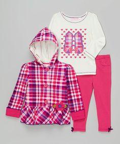 Kids Headquarters Pink & Purple Plaid Jacket Set - Infant, Toddler & Girls | zulily