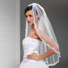 vintage corded lace edge elbow length short tulle veil