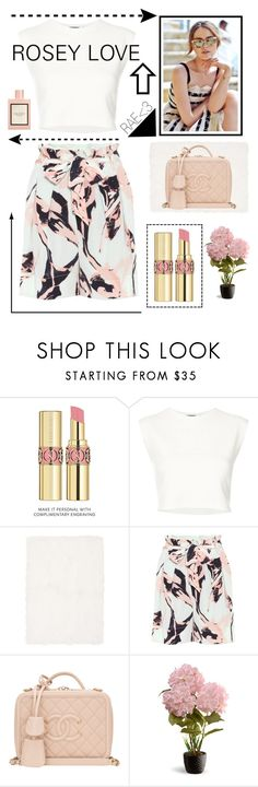 """""""Rosey Love #springintosummer #classy #fashionable #pink"""" by rae-love-fashion-design ❤ liked on Polyvore featuring Yves Saint Laurent, Puma, Calvin Klein, By Malene Birger, Chanel, National Tree Company and Gucci"""