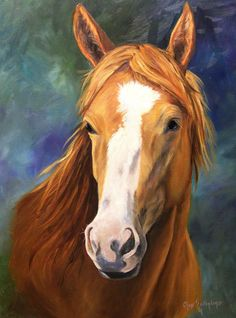 Blaze Faced Chesnut Horse Print of Original Oil Painting by Cheri Wollenberg. $15, via Etsy.