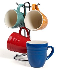 Take a look at this Denmark Tools for Cooks Red & Blue Mug & Rack Set  by Fun & Functional: Bright Kitchenware on #zulily today!