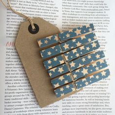 6 full size wooden clothes pegs blue with white stars by KylieDunn