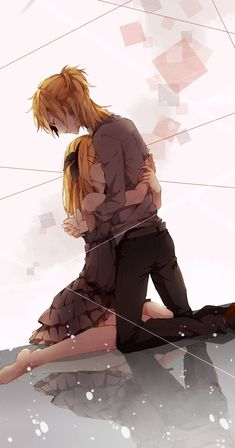"Rin and Len Vocaloid Rin is grieving a breakup and Len is calmly consoling her while planning a ""trip"" to someone's house... lol"