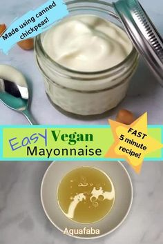 This easy vegan mayonnaise uses aquafaba (the juice from canned chickpeas) to ma. This easy vegan mayonnaise uses aquafaba (the juice from canned chickpeas) to make a creamy, plant- Vegan Dinner Recipes, Vegan Recipes Easy, Whole Food Recipes, Nutella Recipes, Vegan Sauces, Vegan Foods, Mayonaise Recipe, Fat Free Mayonnaise Recipe, Veganaise Recipe