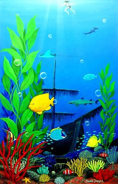 Painting - Aquarium by Snake Jagger , Small Canvas Paintings, Paintings Famous, Indian Art Paintings, Meer Illustration, Sea Murals, Dolphin Art, Aquarium Backgrounds, Sea Plants, Underwater Painting