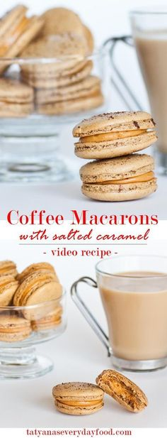 Coffee Macarons filled with salted caramel frosting