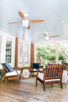 """Haint Blue Porch Ceiling Makeover 