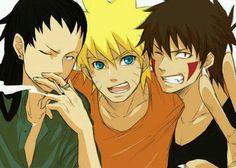 Shikamaru Nara / Naruto Uzumaki / Kiba Inuzaka..they are so good looking here. .love it! ^_^