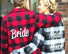 Bridal Party Flannels Bridesmaid Flannels Wedding Flannels Wedding Prep Wedding Getting Ready Bachelorette Party Shirts Country Bachelorette Parties, Bachelorette Gifts, Wedding Prep, Trendy Wedding, Wedding Planning, Punk Wedding, Wedding Vows, Wedding Bells, Wedding List