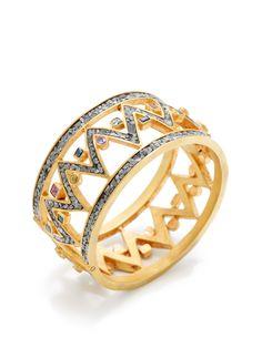 Alimur Multi-Gemstone & Raw Diamond Bangle Bracelet by Lady Kismet at Gilt