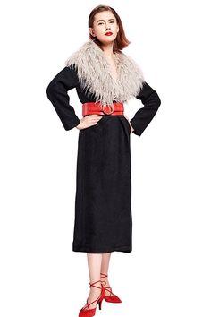 YIGELILA Women Big Fur Collar Black Long Sleeve Faux Fox Fur Coat for Winter >>> You can get more details here : Plus size coats