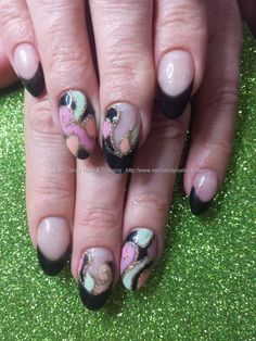 Black gel polish with pink, peach and mint green freehand nail art #NailArt #Nails Taken at:27/03/2015 16:36:59 Uploaded at:28/03/2015 20:17:10 Technician:Elaine Moore