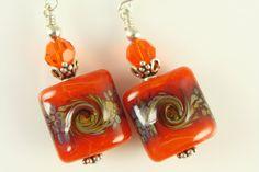 Burnt Orange Lampwork Earrings Glass Bead by JadjusJewelry on Etsy, $25.00