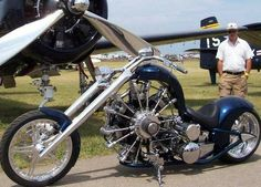 Chopper with a 7-cylinder radial airplane motor. I'm not a bike guy, but this thing is a work of art.