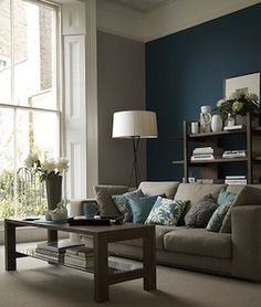 living room | gray paint, teal accent wall, gray couch-very peaceful color scheme!