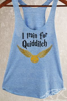 QUIDDITCH RACERBACK WORKOUT Tank Top. Harry Potter Women's Exercise Racerback in xS thru xL Sizes. In Blue or Espresso