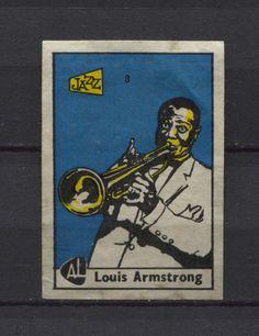 Louis Armstrong Jazz Artist. Vintage 1960s Matchbox Label