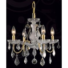 Elegant Lighting St. Francis 4 Light Chandeliers in Gold