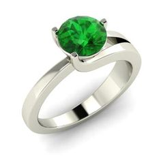 Round Emerald Ring in 14k White Gold