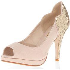 Glitter mid heel peep courts ($69) ❤ liked on Polyvore