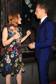 Crimson Peak co-stars Jessica Chastain and Tom Hiddleston get a little punchy.