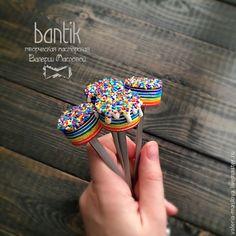 Купить Вкусные ложки из полимерной глины радужные тортики - вкусные ложки, вкусные ложечки