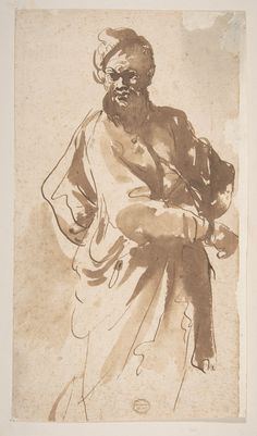 Figure of a Man, 1612–66, attributed to Pier Francesco Mola, Pen and brown ink, brush and brown wash | The Metropolitan Museum of Art