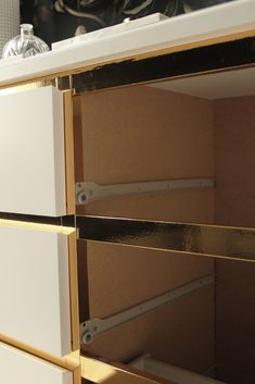 Remove the rails and then fix the contact paper hacks dresser tarva Malm Vintage Style Gold Dresser - IKEA Hackers Diy Dresser Makeover, Ikea Hack, Ikea, Ikea Diy, Ikea Malm Hack, Diy Dresser, Furniture Makeover, Gold Dresser, Malm Dresser