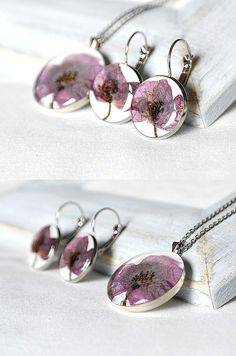 Poppy jewelry set Bride gift Bridesmaid necklace earrings