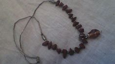 "18"" Navajo silver and Blood Agate Beaded Neclace with Ornamental Glass Pendant"