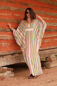 Vintage 1970s 1960s Striped Colorful Caftan Dress Hippie Boho Maxi
