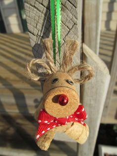 Wine Cork Rudolph Christmas Ornament by theKrazyCrafters on Etsy, $4.00