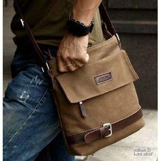 Messenger bag for men canvas coffee, black messenger cross body bag