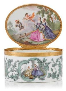 Greatest Collection of Porcelain Snuff Boxes...Meissen gold-mounted oval snuff box, circa 1750-60