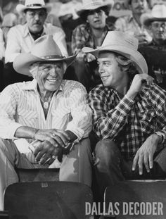 "Jock and Ray (Jim Davis, Steve Kanaly) attend a Fort Worth cattle auction in this 1980 publicity shot from ""The Venezuelan Connection,"" a fourth-season ""Dallas"" episode. Relive more memories at DallasDecoder.com."