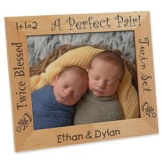 Your darling duo has just arrived and the proud parents will need plenty of ways to showcase their precious pair. The adorable graphics and twin phrases are skillfully laser engraved throughout the wood frame. Baby Picture Frames, Picture On Wood, Personalized Picture Frames, Personalized Baby Gifts, Twin Babies Pictures, Laser Engraved Gifts, Photo Cubes, Baby Invitations, Collage Frames