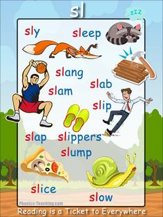 sl Phonics Poster - a FREE PRINTABLE poster for auditory discrimination, sound studies, vocabulary and classroom reference.