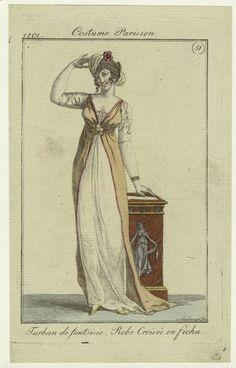 """""""Turban de fantaisie, Robe Croisée en fichu"""", Journal des Dames et des Modes, 1801; NYPL 801702"""