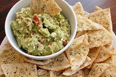 Avocado Feta Dip and Homemade Pita Chips ~ so good and a great holiday appetizer.