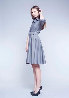 Gray dress 50s dress full skirt dress collar dress by mrspomeranz