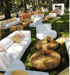 outdoor wedding furniture-- but with antique mismatched pieces instead